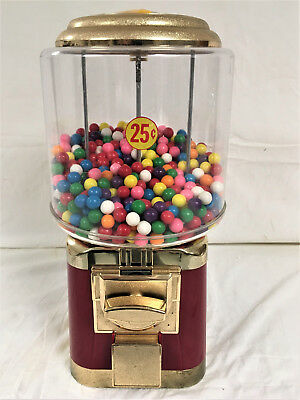 RED & GOLD GUMBALL MACHINE / VENDING MACHINE WITH KEY - Vintage Style
