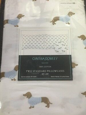 Cynthia Rowley - Two Standard Cotton Dachshund Doxie Wiener Dog Pillow Cases
