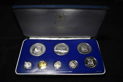 1979 Philippines 8 Coin Proof Set, Silver 50 & 25 Piso Coins, Year Of The Child
