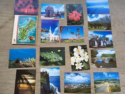 """16 Vintage Guam Post Cards w/Pouch Printed in Japan 5 3/4"""" x 4 1/4"""""""