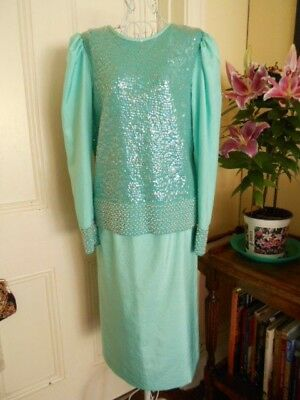 Vintage Evening Outfit Skirt & Top Green With Sequin & Beading