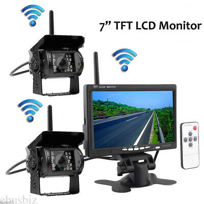 "Wireless IR Back Rear View 2 Camera Night Vision Kit+7"" Monitor for RV Truck Bus"