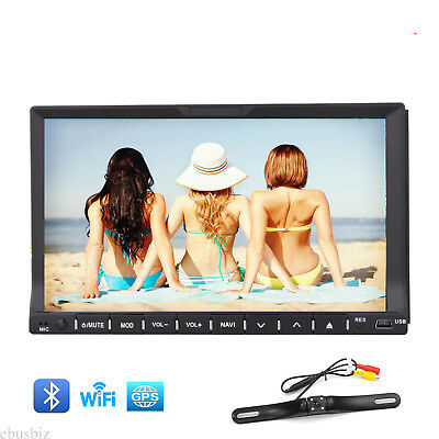 Double 2DIN Universal In-Dash Car GPS Sat Nav Stereo DVD Player Bluetooth+Camera