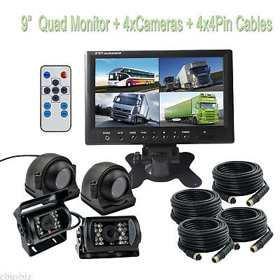 """9""""QUAD SPLIT SCREEN MONITOR 4x SIDE REAR VIEW CCD CAMERA SYSTEM FOR TRUCK RV BUS"""