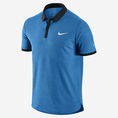 Nike Advantage Roger Federer RF Men's Tennis Polo Photo Blue 729281 435 Size XL