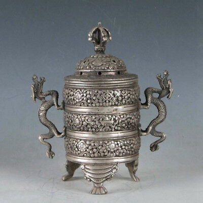 Superb old China  Tibetan Silver handwork Dragon Incense Burner