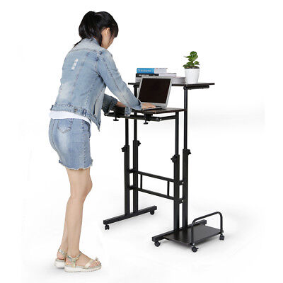 Portable Laptop Table Computer Stand Height Adjustable Work Desk Office Wheels