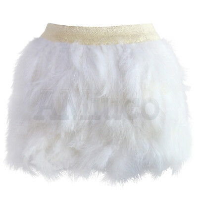 Womens Ostrich Feather Mini Skirt Clubwear Fluffy Sexy Elastic Waist Short Skirt