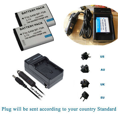 Battery / AC&Travel Charger for Samsung BP-70A & Samsung MV800 PL100 Camera