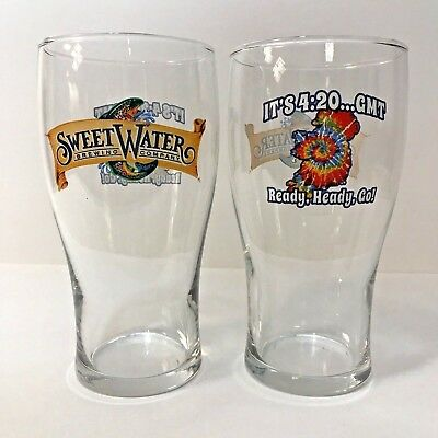 SweetWater Brewing Co - 420 GMT - 16 oz Tulip Glass  SET of TWO (2) GLASSES  NEW