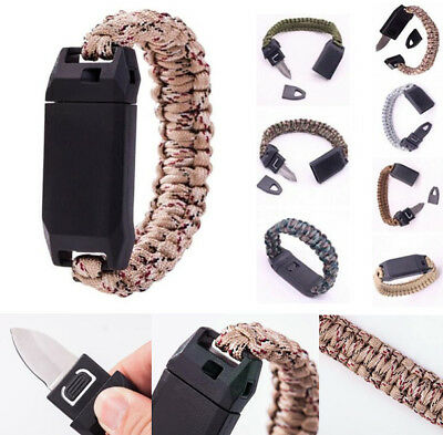3-in-1 Outdoor Survival Emergency Paracord Bracelet Whistle Steel Knife Function