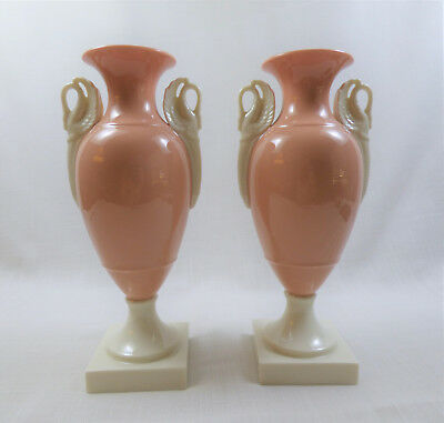 Rare Vintage Lenox Coral Vases Old Blue Mark with Ivory Swan Handles