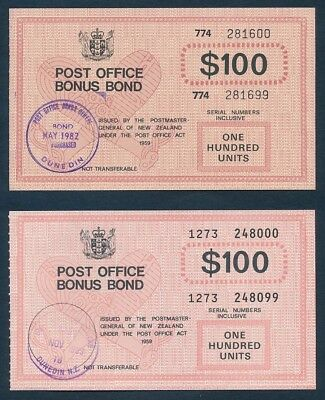 "New Zealand: 1982 & 89 $100 ""2 DIFFERENT RARE P.O. BONUS BONDS"". Cashable @ $200"