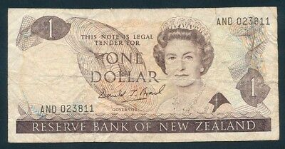 "New Zealand: 1989 LAST $1 Brash QEII Portrait SCARCE WORD PREFIX ""AND"". P169c F"