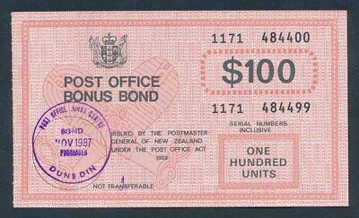 "New Zealand: 1987-89 $100 ""RARE P.O. BONUS BOND"". Cashable @ $100"