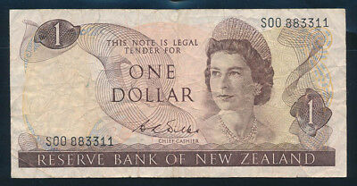 "New Zealand: 1968 $1 Wilks RARE QUADRUPLE LUCKY PREFIX/NO. ""00883311"". Pick 163b"