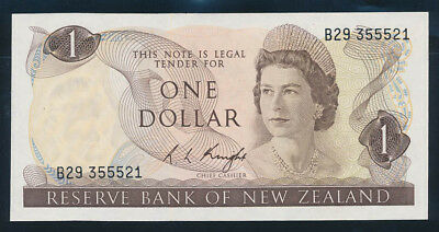 "New Zealand: 1975 $1 Knight RARE LUCKY NO. ""555"". Pick 163c UNC Lt hand Cat $35+"
