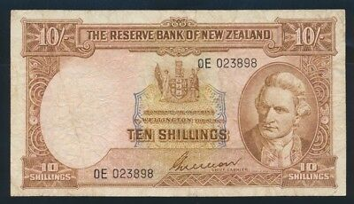 "New Zealand: 1955 10/- Wilson RARE PREFIX NO. LETTER ""0E"". Pick 158b F Cat $100"