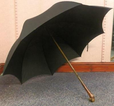 Vintage Umbrella With Root-Ball Handle Metal Frame Engraved Sangsters Park