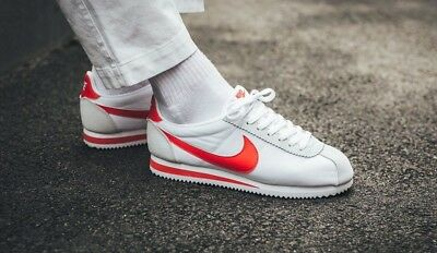 huge discount 05ae3 f2d13 Nike Classic Cortez Size UK 9 EU 44 Mens Trainers Shoes White Red Gym  Leather