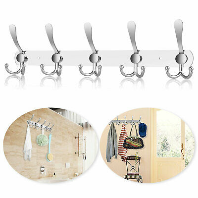 15 Hooks Stainless Steel Coat Robe Hat Clothes Wall Mount Hanger Towel Rack