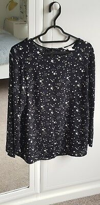 Star Print Black Maternity Top Blouse H&M Mama collection Size Small 10