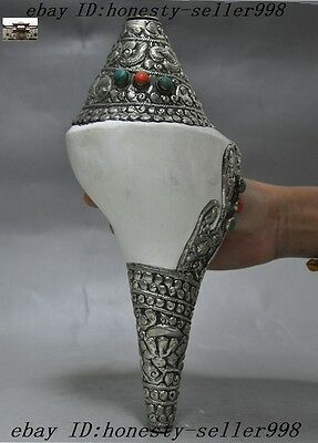 collect Tibet Silver inlay Turquoise Red coral Shell Dragon Conch Horn Trumpet