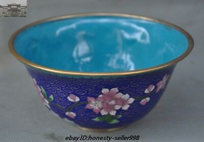 Old Chinese Dynasty Palace Bronze Cloisonne Enamel flower bowl cup bowls