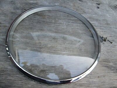 A Smiths Enfield Chrome Mantel Clock Bezel And Convex Glass With  Case Fastener