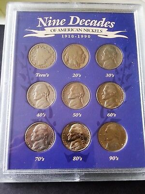 Nickel Collection – Nine Decades of American Nickels – 9 coin set