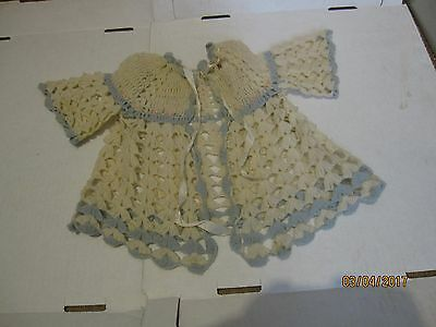Vintage crochet baby or doll sweater and booties. hand made. b23