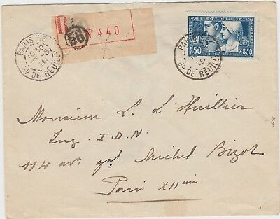 France:  B27 Franking A Local Paris Registered Cover - 5-28-1930