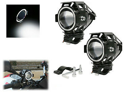 2x FARI SUPPLEMENTARI ANTERIORI PER MOTO FARETTO LED U7 LED ANGEL EYE BIANCO