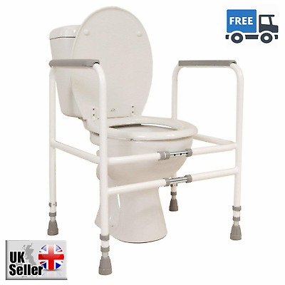 Disable Free Standing Toilet Frame Width Height Adjustable Sturdy Steel Mobility