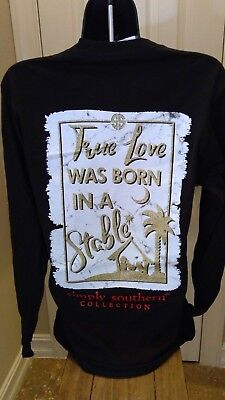 Simply Southern Long Sleeve Tee:  True Love Was Born in a Stable - Black & Gold