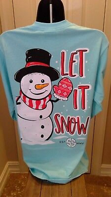 Simply Southern Long Sleeve Tee: Let it Snow - Marine Blue - Glittery Snowman