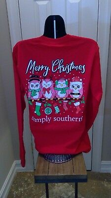 Simply Southern Long Sleeve Tee: Merry Christmas (Owls) - Red