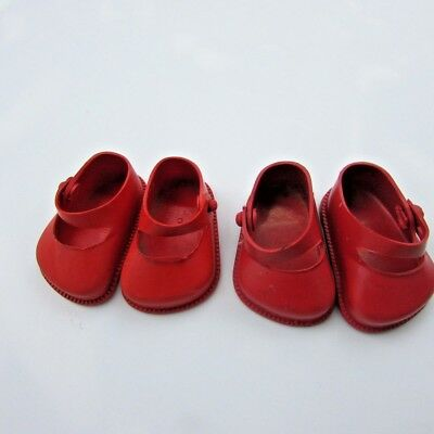 """Doll Shoes Lot Mary Janes 10"""" Dolls 2 Pair Red 1950s Vintage Littlest Angel"""
