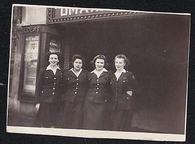 Vintage Antique Photograph Four Women in Uniforms Standing by Loew's Theatre