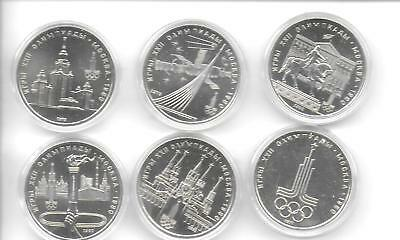 Russia(USSR) 1980 Olympic Six 1 Rouble Commemorative Coins PL BU In Case W/COA