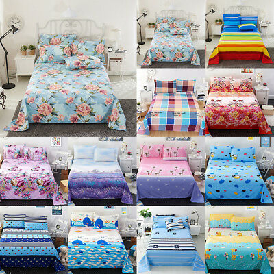 Soft Flat Bed Sheet Set w/Pillowcase Cover Comfort Floral Bedding Sheets 4 Size
