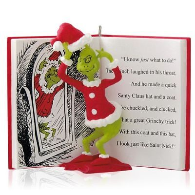 2014 Hallmark THE GRINCH IN DISGUISE Dr. Seuss Book Ornament