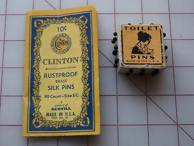 6774 2 Vintage sewing pins/dress pins Packages, Clinton Pins, Toilet Pins