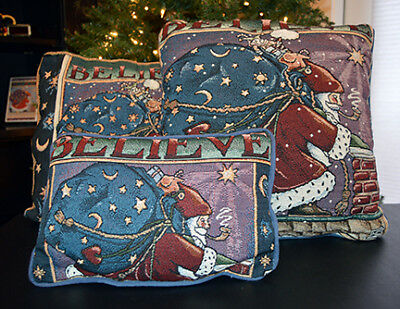 Mary Engelbreit BELIEVE Santa Tapestry Pillows (3) & Table Runner Collection