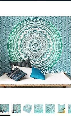 Eye Of India Green Ombré Tapestry, Throw, Wall Hanging.  Vgc