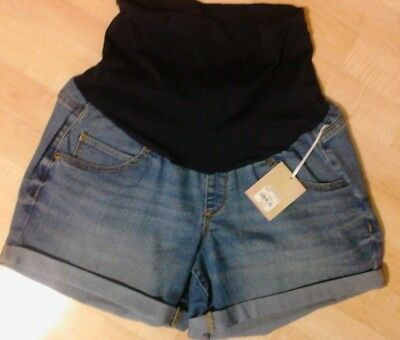 "A:glow ~ Women's New ""maternity Light Denim Jean Cuffed Shorts""  ~ Msrp $40"
