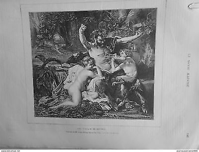 1875 Mi2 Family Satyr Woman Naked Child Music Picture Louis Paul