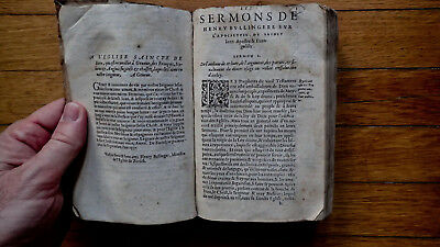 Printed 1558 Volume Of Sermons On The Apocalypse Wrapped Vellum Manuscript Cover