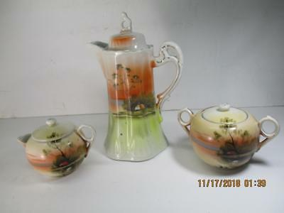 Vintage Hand Painted Japanese Tea Pot Creamer And Sugar - Tea Set