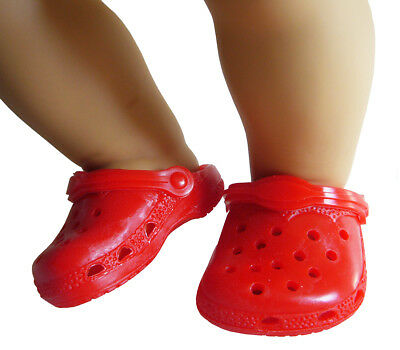 Red Krocs Garden Shoes Ducs for Bitty Baby Doll Clothes Accessories CHRISTMAS